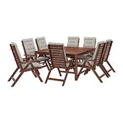 ÄPPLARÖ - 戶外檯連躺椅組合, 染褐色/Kuddarna 灰色   IKEA 香港及澳門 - PE713655_S3