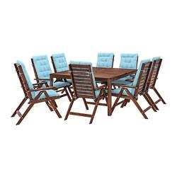 ÄPPLARÖ - 戶外檯連躺椅組合, 染褐色/Kuddarna 淺藍色   IKEA 香港及澳門 - PE713654_S3