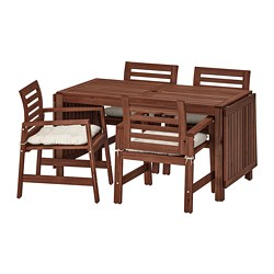 ÄPPLARÖ - table+4 chairs w armrests, outdoor, brown stained/Kuddarna beige   IKEA Hong Kong and Macau - PE713663_S3