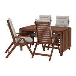 ÄPPLARÖ - table+4 reclining chairs, outdoor, brown stained/Kuddarna grey | IKEA Hong Kong and Macau - PE713668_S3