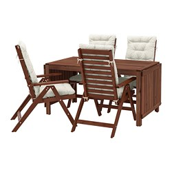 ÄPPLARÖ - table+4 reclining chairs, outdoor, brown stained/Kuddarna beige   IKEA Hong Kong and Macau - PE713669_S3