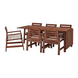 ÄPPLARÖ - table+6 chairs w armrests, outdoor, brown stained/Kuddarna grey   IKEA Hong Kong and Macau - PE713674_S3