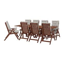 ÄPPLARÖ - table+8 reclining chairs, outdoor, brown stained/Kuddarna grey | IKEA Hong Kong and Macau - PE713680_S3