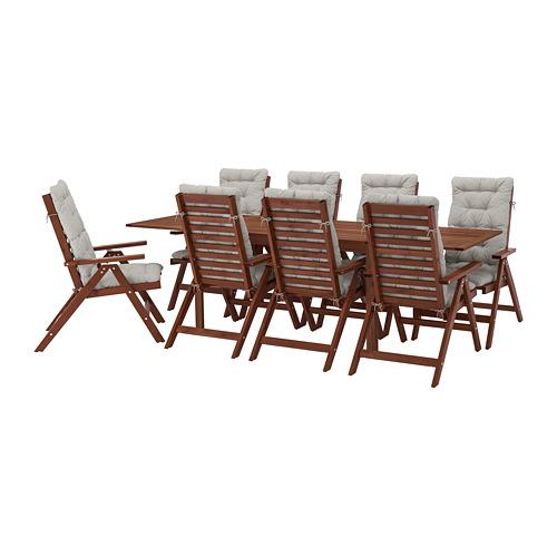 ÄPPLARÖ table+8 reclining chairs, outdoor