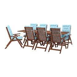 ÄPPLARÖ - 戶外檯連躺椅組合, 染褐色/Kuddarna 淺藍色   IKEA 香港及澳門 - PE713682_S3