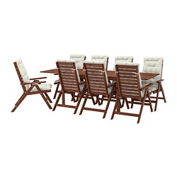 ÄPPLARÖ - table+8 reclining chairs, outdoor, brown stained/Kuddarna beige | IKEA Hong Kong and Macau - PE713681_S3