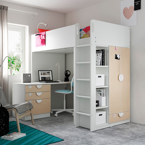 SMÅSTAD - loft bed, white birch/with desk with 4 drawers | IKEA Hong Kong and Macau - PE809910_S4