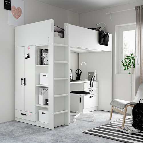 SMÅSTAD - loft bed, white green/with desk with 4 drawers   IKEA Hong Kong and Macau - PE809911_S4