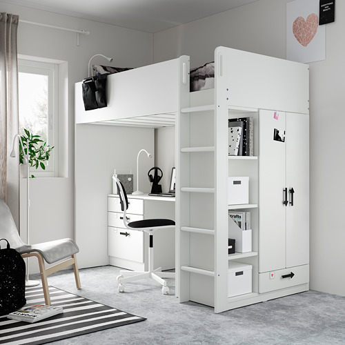 SMÅSTAD - loft bed, white green/with desk with 4 drawers   IKEA Hong Kong and Macau - PE809914_S4