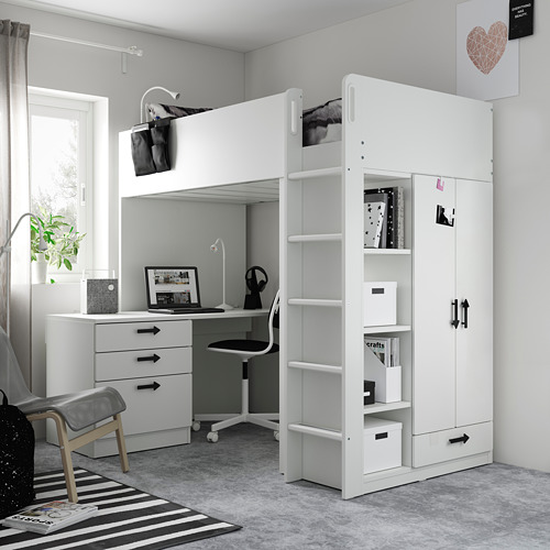 SMÅSTAD - loft bed, white green/with desk with 4 drawers   IKEA Hong Kong and Macau - PE809915_S4