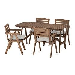 FALHOLMEN - 戶外檯連扶手椅組合, 染淺褐色/Kuddarna 灰色 | IKEA 香港及澳門 - PE713688_S3