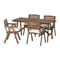 FALHOLMEN - 戶外檯連扶手椅組合, 染淺褐色/Kuddarna 米黃色 | IKEA 香港及澳門 - PE713690_S3