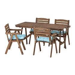 FALHOLMEN - 戶外檯連扶手椅組合, 染淺褐色/Kuddarna 淺藍色 | IKEA 香港及澳門 - PE713689_S3