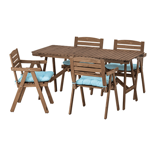 FALHOLMEN - table+4 chairs w armrests, outdoor, light brown stained/Kuddarna light blue | IKEA Hong Kong and Macau - PE713689_S4