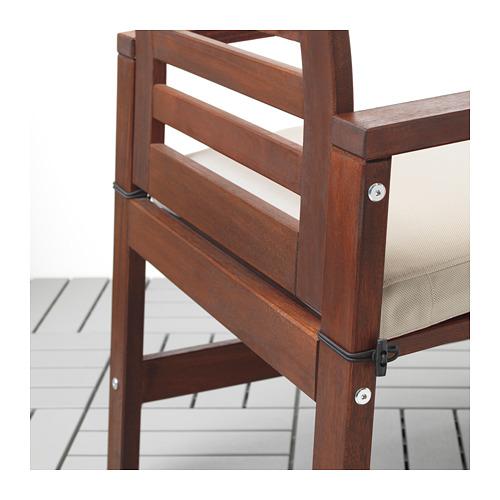 ÄPPLARÖ - table+4 chairs w armrests, outdoor, brown stained/Frösön/Duvholmen beige | IKEA Hong Kong and Macau - PE713758_S4