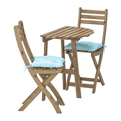 ASKHOLMEN - table f wall+2 fold chairs, outdoor, grey-brown stained/Kuddarna light blue | IKEA Hong Kong and Macau - PE713779_S3