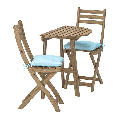 ASKHOLMEN 戶外上牆檯連2張摺椅