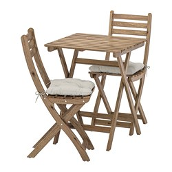 ASKHOLMEN - table+2 chairs, outdoor, grey-brown stained/Kuddarna grey | IKEA Hong Kong and Macau - PE713782_S3