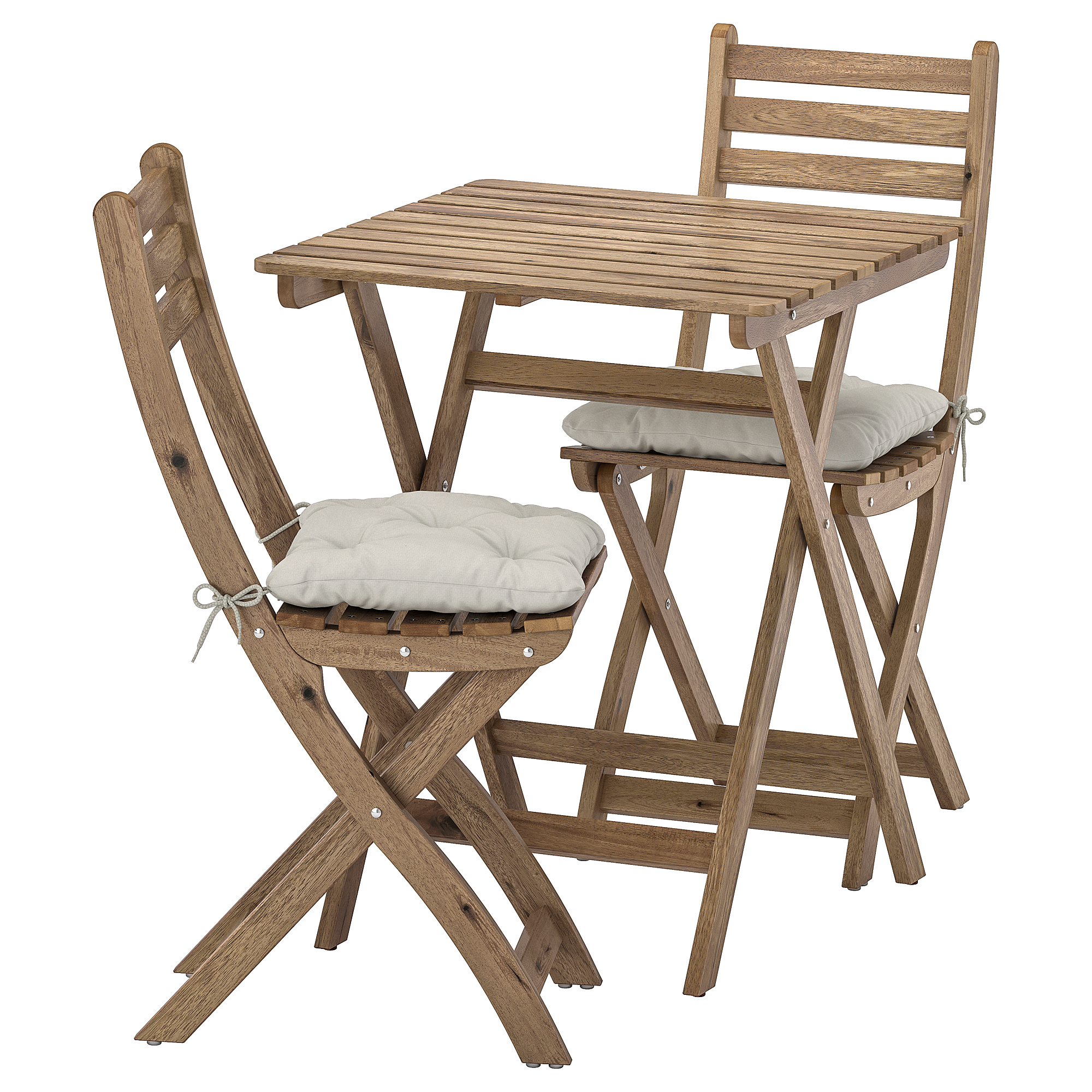 ASKHOLMEN, table+7 chairs, outdoor, grey-brown stained/Kuddarna grey