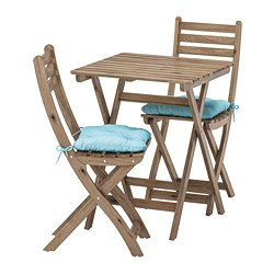 ASKHOLMEN - table+2 chairs, outdoor, grey-brown stained/Kuddarna light blue | IKEA Hong Kong and Macau - PE713781_S3