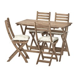 ASKHOLMEN - table+4 folding chairs, outdoor, grey-brown stained/Kuddarna beige | IKEA Hong Kong and Macau - PE713785_S3