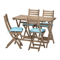 ASKHOLMEN - table+4 folding chairs, outdoor, grey-brown stained/Kuddarna light blue | IKEA Hong Kong and Macau - PE713787_S3