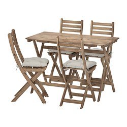 ASKHOLMEN - table+4 folding chairs, outdoor, grey-brown stained/Kuddarna grey | IKEA Hong Kong and Macau - PE713786_S3