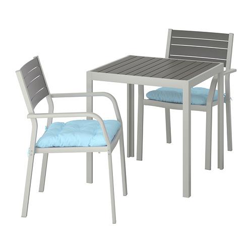 SJÄLLAND - table+2 chairs w armrests, outdoor, dark grey/Kuddarna light blue | IKEA Hong Kong and Macau - PE713843_S4