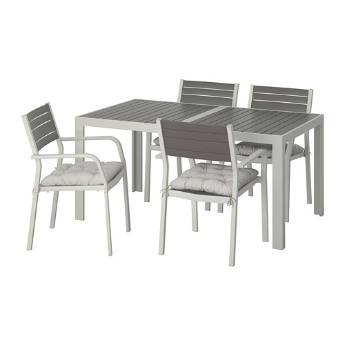 SJÄLLAND - table+4 chairs w armrests, outdoor, dark grey/Kuddarna grey | IKEA Hong Kong and Macau - PE713849_S4