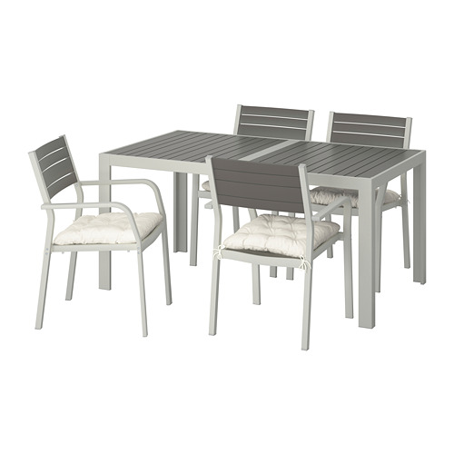 SJÄLLAND - 戶外檯連扶手椅組合, 深灰色/Kuddarna 米黃色   IKEA 香港及澳門 - PE713852_S4