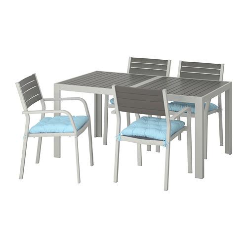SJÄLLAND - table+4 chairs w armrests, outdoor, dark grey/Kuddarna light blue   IKEA Hong Kong and Macau - PE713853_S4