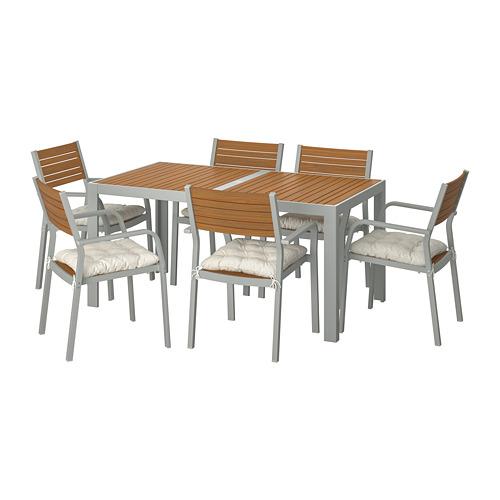 SJÄLLAND - table+6 chairs w armrests, outdoor, light brown/Kuddarna beige | IKEA Hong Kong and Macau - PE713885_S4