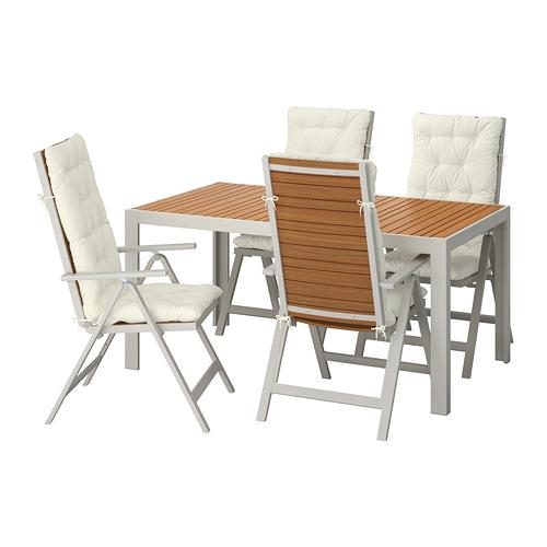 SJÄLLAND - table+4 reclining chairs, outdoor, light brown/Kuddarna beige | IKEA Hong Kong and Macau - PE713887_S4