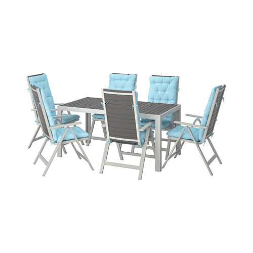 SJÄLLAND - table+6 reclining chairs, outdoor, dark grey/Kuddarna light blue | IKEA Hong Kong and Macau - PE713911_S4