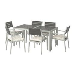 SJÄLLAND - 戶外檯連扶手椅組合, 深灰色/Kuddarna 米黃色   IKEA 香港及澳門 - PE713894_S3