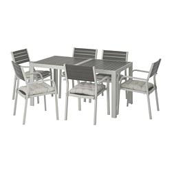 SJÄLLAND - 戶外檯連扶手椅組合, 深灰色/Kuddarna 灰色   IKEA 香港及澳門 - PE713895_S3