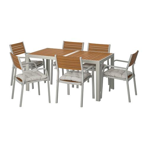 SJÄLLAND - table+6 chairs w armrests, outdoor, light brown/Kuddarna grey | IKEA Hong Kong and Macau - PE713903_S4