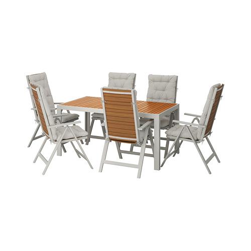 SJÄLLAND - table+6 reclining chairs, outdoor, light brown/Kuddarna grey | IKEA Hong Kong and Macau - PE713906_S4