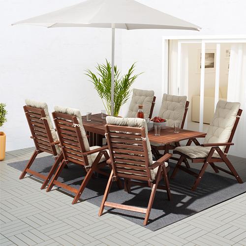 ÄPPLARÖ - 戶外檯連躺椅組合, 染褐色/Kuddarna 米黃色 | IKEA 香港及澳門 - PE713964_S4
