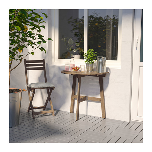 ASKHOLMEN - table for wall+1 fold chr, outdoor, grey-brown stained | IKEA Hong Kong and Macau - PE713978_S4
