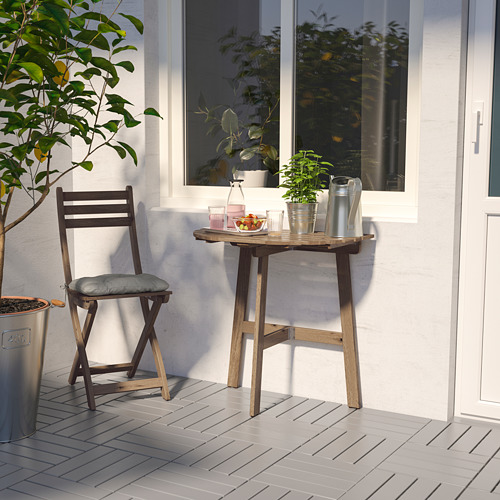 ASKHOLMEN - table for wall+1 fold chr, outdoor, grey-brown stained/Kuddarna grey | IKEA Hong Kong and Macau - PE713981_S4