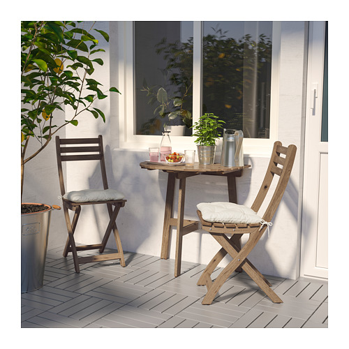 ASKHOLMEN - table f wall+2 fold chairs, outdoor, grey-brown stained | IKEA Hong Kong and Macau - PE713983_S4