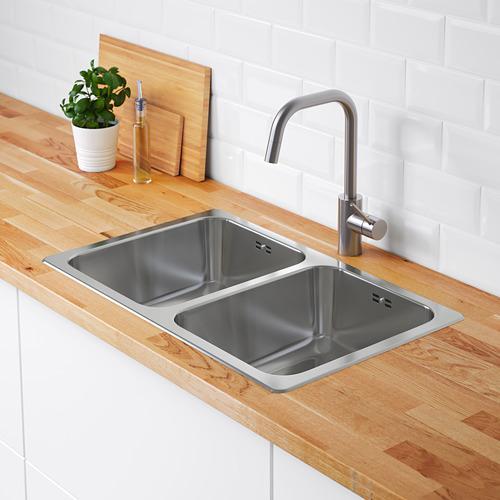 HILLESJÖN - inset sink, 2 bowls, stainless steel   IKEA Hong Kong and Macau - PE652582_S4
