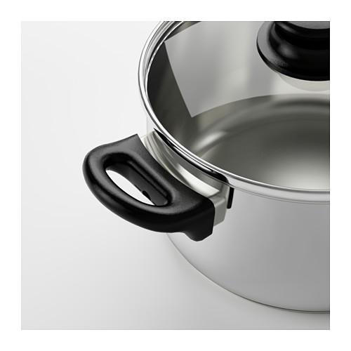 ANNONS - 連蓋鍋2.8 升,玻璃/不銹鋼   IKEA 香港及澳門 - PE610942_S4