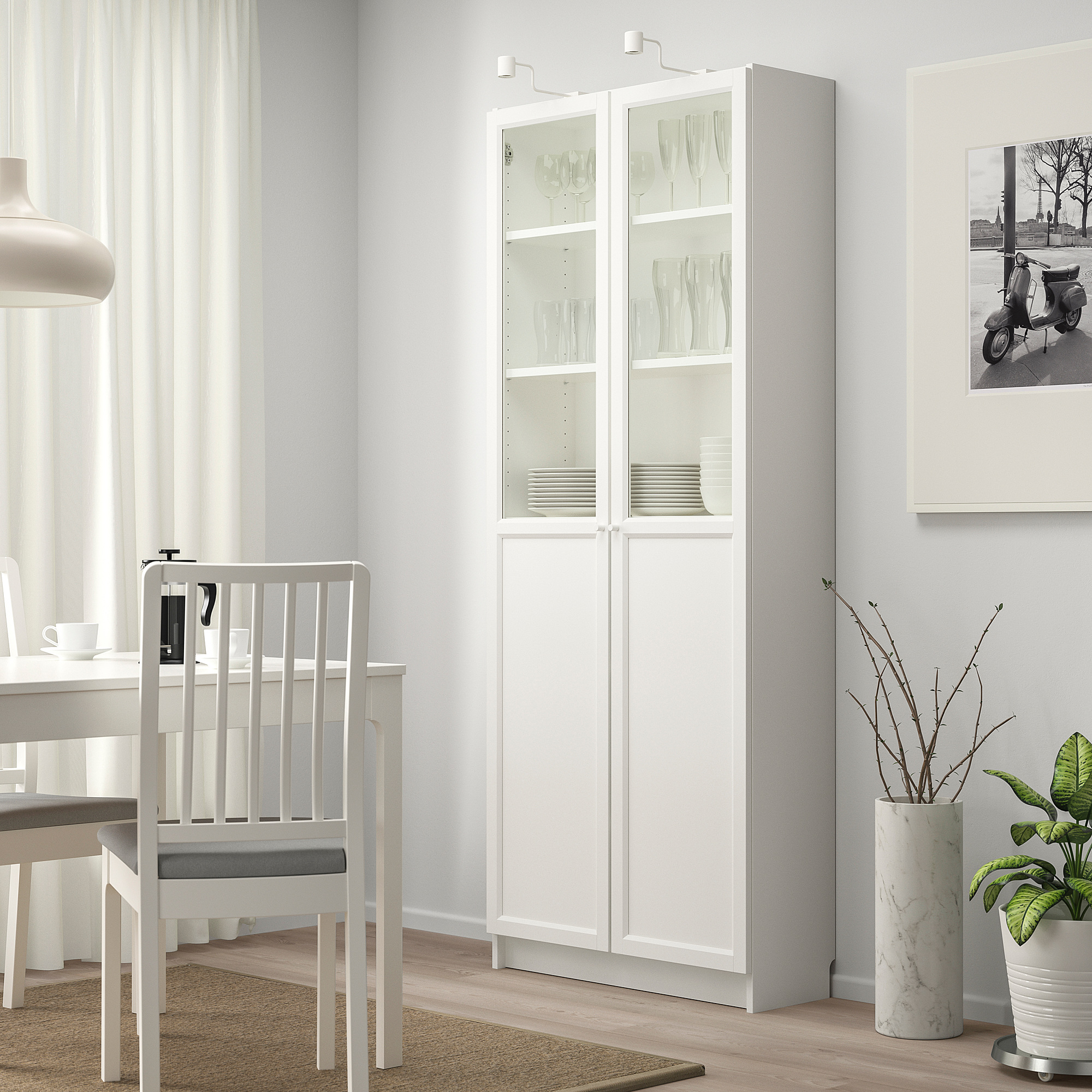 Billy Bookcase With Panel Glass Doors White Ikea Hong Kong