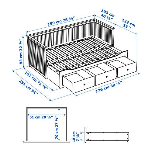 HEMNES - 日間床連3抽屜及2床褥, 白色/Malfors 特級承托 | IKEA 香港及澳門 - PE754249_S4