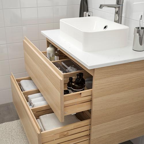 HÖRVIK/GODMORGON/TOLKEN - 洗手盆櫃連櫃台板組合, white stained oak effect/marble effect Brogrund tap | IKEA 香港及澳門 - PE754262_S4