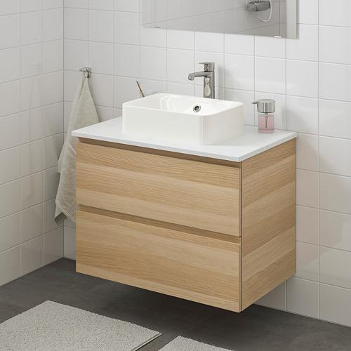 HÖRVIK/GODMORGON/TOLKEN - 洗手盆櫃連櫃台板組合, white stained oak effect/marble effect Brogrund tap | IKEA 香港及澳門 - PE754263_S4