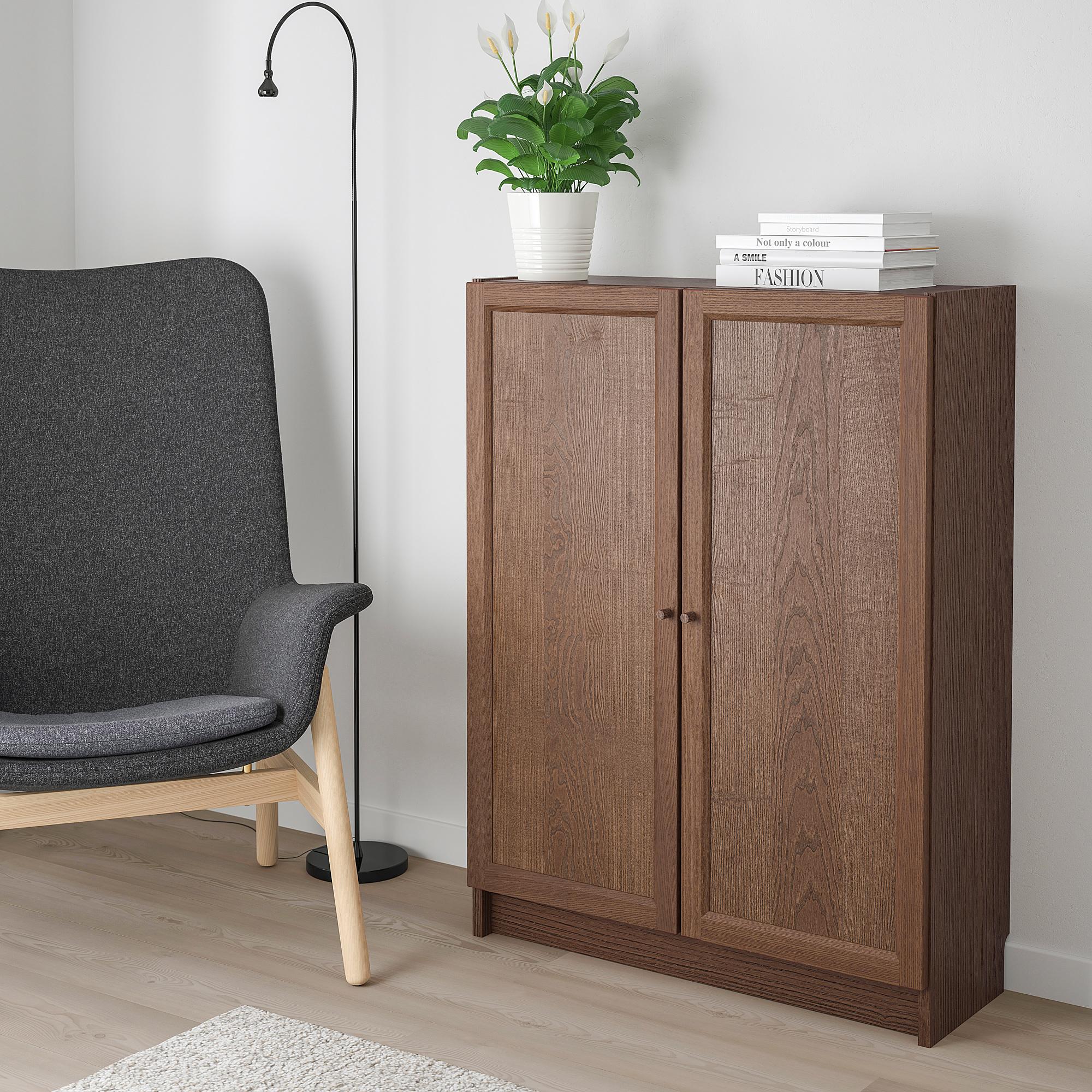 Billy Oxberg Bookcase With Doors Brown Ash Veneer Ikea