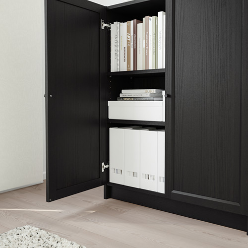 BILLY/OXBERG - bookcase with doors, black-brown   IKEA Hong Kong and Macau - PE714129_S4